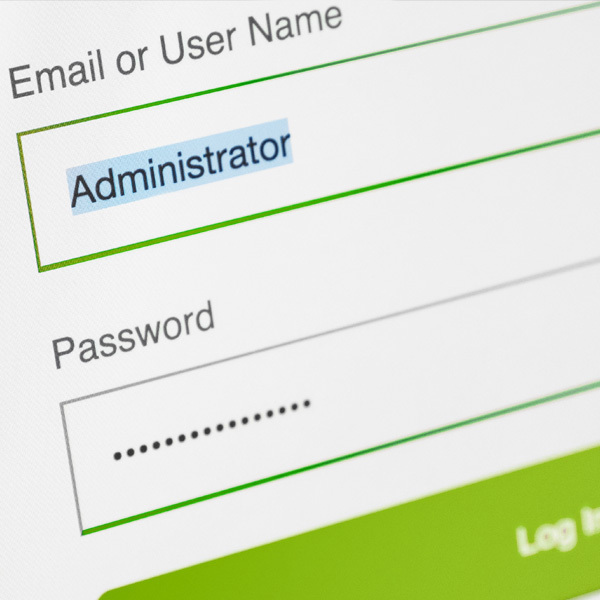 Image of an administrator login screen